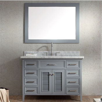 Kensington Single Basin Bathroom Vanity With Shutter Style Cabinet Doors By Ariel Kitchensource Com