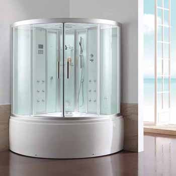 "ARIEL Platinum Steam Shower and Whirlpool Bathtub Combination Unit, 59""W x 59""D x 89-51/64""H"