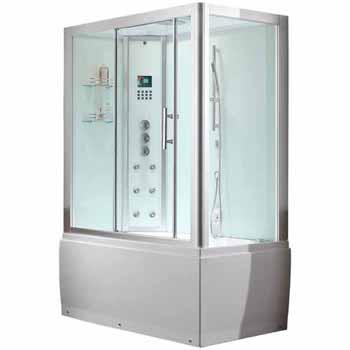 "ARIEL Platinum Steam Shower and Whirlpool Left Drain Bathtub Combination Unit, 59""W x 32""D x 87-13/32""H"