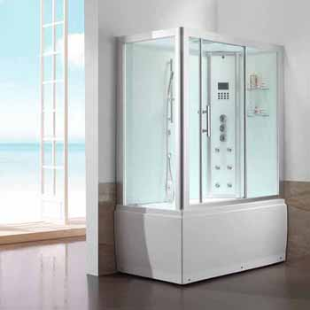 "ARIEL Platinum Steam Shower and Whirlpool Right Drain Bathtub Combination Unit, 59""W x 32""D x 87-13/32""H"