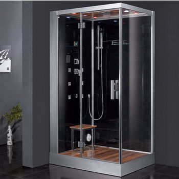 "ARIEL Platinum Collection Steam Shower, Left Side in Black, 47"" W x 35-2/5"" D x 89"" H"