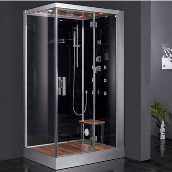 "ARIEL Platinum Collection Steam Shower, Right Side in Black, 47"" W x 35-2/5"" D x 89"" H"