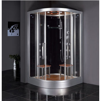 "ARIEL Platinum Collection Steam Shower in Black, 47-1/5"" W x 47-1/5"" D x 89"" H"