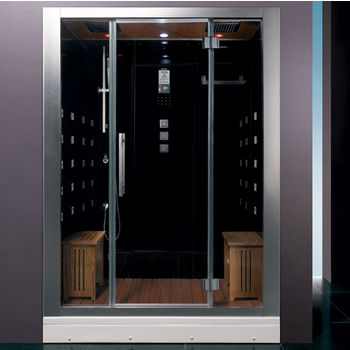 """ARIEL Platinum Collection Steam Shower in Black, 59"""" W x 32"""" D x 87-2/5"""" H"""