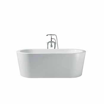 "ARIEL Platinum Charlotte 67"" Freestanding Bathtub, White"
