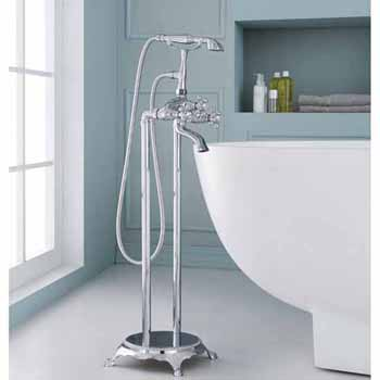 ARIEL 3-Handle Freestanding Claw Foot Tub Faucet with Hand Shower in Chrome