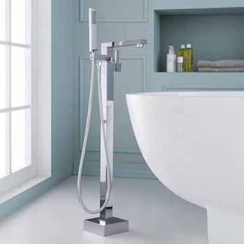 ARIEL Single-Handle Freestanding Roman Tub Faucet with Hand Shower in Chrome