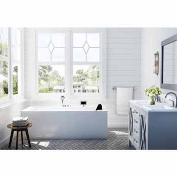 "ARIEL Platinum 59"" Whirlpool Left Drain Rectangular Bathtub, White, 59""W x 29-1/2""D x 24-29/32""H"
