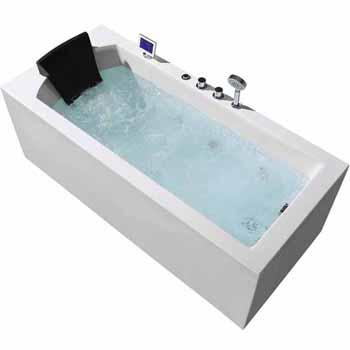 """ARIEL Platinum 70"""" Whirlpool Right Drain Rectangular Bathtub, White, 70""""W x 31-1/2""""D x 24-29/32""""H"""