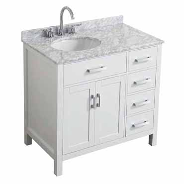 Hampton 37 Or 43 W Single Left Or Right Offset Sink Vanity Set In Grey Or White Includes Vanity Base Countertop Sink And Mirror Option By Belmont Décor Kitchensource Com