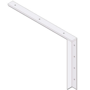 "Best Brackets Imported Concealed Flat Bracket (2.0 Version) with 24"" Support Arm in White, Sold As Pair"