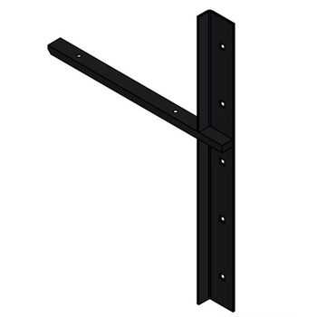 "Best Brackets Imported Extended Concealed Flat Bracket (1.0 Version) with 12"" Support Arm in Black, Sold As Pair"