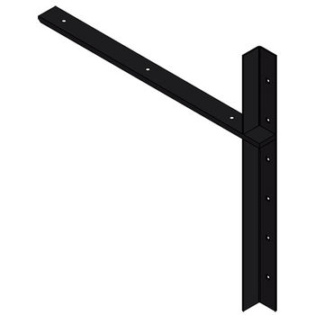 "Best Brackets Imported Extended Concealed Flat Bracket (2.0 Version) with 24"" Support Arm in Black, Sold As Pair"
