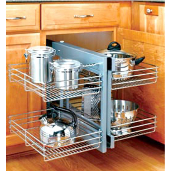 Corner Organizers Shop For Blind Corner Kitchen Cabinet Optimizers And Corner Units In Heavy Duty Chrome