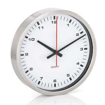 Blomus Era Collection Wall Clock in Stainless Steel with White Acrylic Facing, 9-2/5'' Diameter x 1-4/5'' D