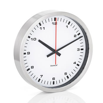 Blomus Era Collection Wall Clock in Stainless Steel with White Acrylic Facing, 11-4/5'' Diameter x 2-1/5'' D