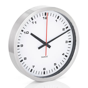 Blomus Era Collection Wall Clock in Stainless Steel with White Acrylic Facing, 15-7/10'' Diameter x 2-3/5'' D
