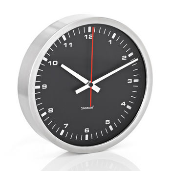 Blomus Era Collection Wall Clock in Stainless Steel with Black Acrylic Facing, 9-2/5'' Diameter x 1-4/5'' D