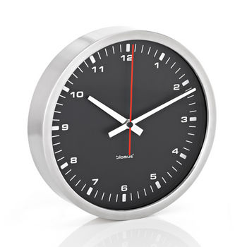 Blomus Era Collection Wall Clock in Stainless Steel with Black Acrylic Facing, 11-4/5'' Diameter x 2-1/5'' D