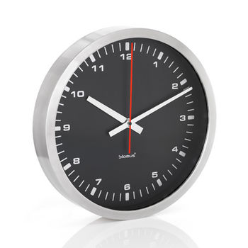 Blomus Era Collection Wall Clock in Stainless Steel with Black Acrylic Facing, 15-7/10'' Diameter x 2-3/5'' D
