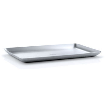 Blomus Basic Collection Tray in Satin Stainless Steel, 9-55/64'' W x 5-29/32'' D x 19/32'' H