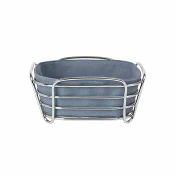 Blomus Delara Collection Wire Serving Basket, Small, Flint Stone, 8''W x 8''D x 3-5/8''H