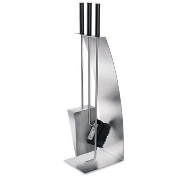 Chimo Brushed Stainless Steel 4-Piece Fireplace Set