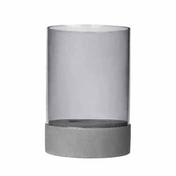 "Blomus Spirito Collection Candle Holder with Glass, Light Gray, 6-5/16"" Dia x 9-3/8''H"