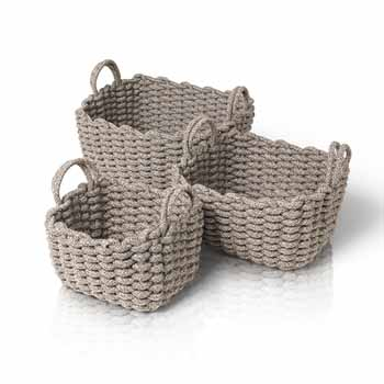Blomus Corda Collection Rectangle Crochet Baskets, Set of 3, Light Brown