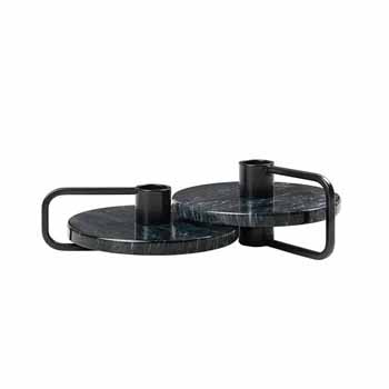 Blomus Castea Collection Candle holders Set of 2, Black/Marble