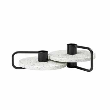Blomus Castea Collection Candle holders Set of 2, Black/Terrazzo