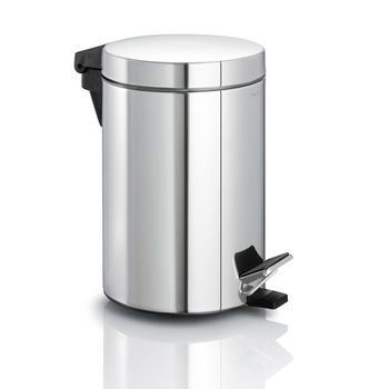 Blomus Nexio Collection Pedal Bin Wastecan in Polished Stainless Steel, 6-9/10'' Diameter x 10'' H