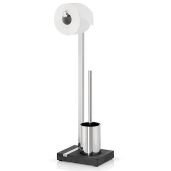Blomus Menoto Collection Toilet Paper Holder and Brush in Polished Stainless Steel with Polystone Base, 5-9/10'' W x 7-9/10'' D x 25-3/10'' H