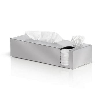 Blomus Nexio Collection Tissue Box and Dispenser for Cotton Buds and Pads in Stainless Steel, 4-7/10'' W x 12-1/5'' D x 2-9/10'' H