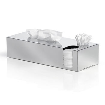 Blomus Nexio Collection Tissue Box and Dispenser for Cotton Buds and Pads in Polished Stainless Steel, 4-7/10'' W x 12-1/5'' D x 2-9/10'' H