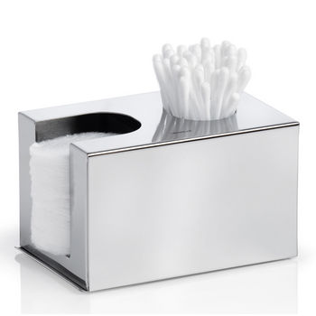 Blomus Nexio Collection Dispenser for Cotton Buds and Pads in Polished Stainless Steel, 4-7/10'' W x 3-1/10'' D x 2-9/10'' H
