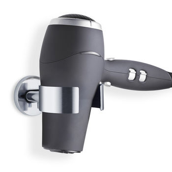 Blomus Areo Collection Hairdryer Holder in Matt Brushed Finish, 4-1/3'' W x 3-1/7'' D x 2-1/5'' H