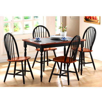 Boraam Industries Tile Top Farm Table Dining and Windsor Chairs Black Cherry