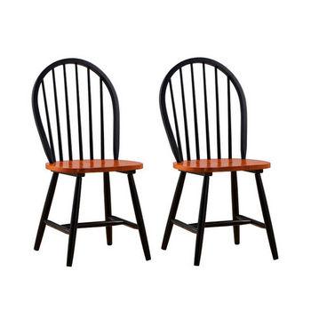 Boraam Industries Farmhouse Windsor Dining Chairs, Set Of 2, Black/Cherry  Finish