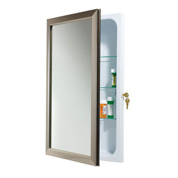 Security Locking Medicine Cabinets, Satin Nickel
