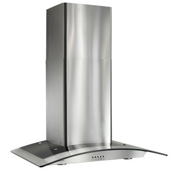 "Broan 36"" Arched Glass Chimney Range Hood, Stainless Steel, 450 CFM"