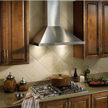 """Broan 30"""" Wall Mounted Traditional European Style Chimney Hood in Brushed Stainless Steel, 450 CFM, 29-1/2"""" W x 19-3/4"""" D x 30"""" H"""