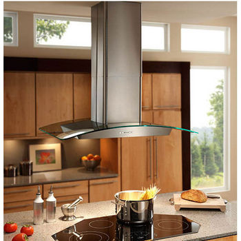 Broan Elite Ei59 Series Island Mount Gl And Stainless Chimney Range Hood 500 Cfm 35 3 8 W X 25 5 D 30 1 2