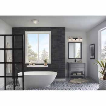 Brushed Nickel Broan-NuTone 770RLTK Bathroom Ceiling Exhaust Light with Easy Change Trim Kit 80 CFM Bath Fan