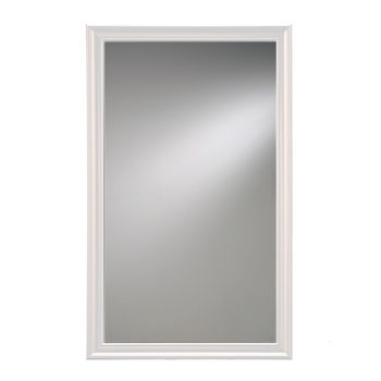 "Broan Jensen by Broan Studio V Collection 14"" W X 24"" H or 14"" W x 34"" H Wall Mounted Beveled Mirror with White Frame"