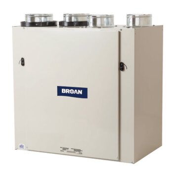"Broan Advanced Series Heat Recovery Ventilator (HRV) 65- 155 CFM, Top Port, 24-9/16"" W x 14-15/16"" D x 24-9/16"" H"