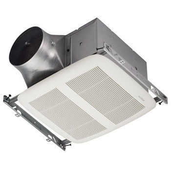 "NuTone Ultra Green ™ 110 CFM Single-Speed Ventilation Fan with White Grille, <0.3 Sones, Energy Star ®, Housing: 11-3/8"" W x 10-1/2"" D x 7-5/8"" H"