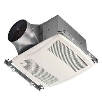 """Broan Ultra Green ™ 110 CFM Humidity Sensing Multi-Speed Ventilation Fan with White Grille, <0.3 Sones, Energy Star ®, Housing: 11-3/8"""" W x 10-1/2"""" D x 7-5/8"""" H"""