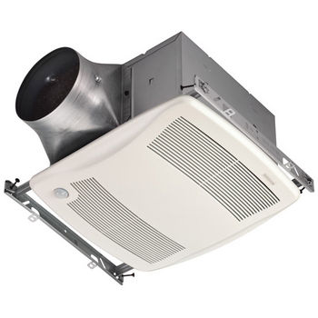 "Broan Ultra Green ™ 110 CFM Motion Sensing Multi-Speed Ventilation Fan with White Grille, <0.3 Sones, Energy Star ®, Housing: 11-3/8"" W x 10-1/2"" D x 7-5/8"" H"