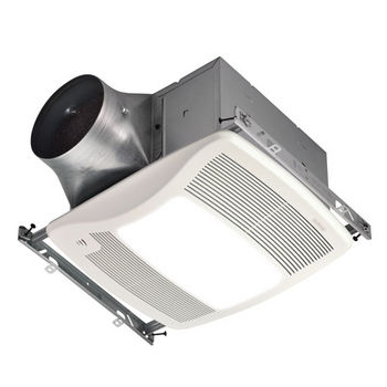 """NuTone Ultra Green ™ 110 CFM Humidity Sensing Multi-Speed Ventilation Fan/Light with White Grille, <0.3 Sones, Energy Star ®, Housing: 11-3/8"""" W x 10-1/2"""" D x 7-5/8"""" H"""